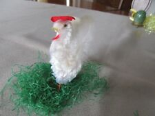 Vintage Easter Chenille Rooster Has Original Feather Tail Great Cond For Age