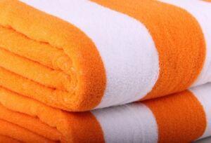 CABANA BEACH POOL TOWEL - STRIPED 100% EGYPTIAN COTTON - WHITE & ORANGE