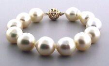 "12X14MM - 14X15.5MM White South Sea Pearl Bracelet, 14K Diamond Clasp, 8"", NEW"