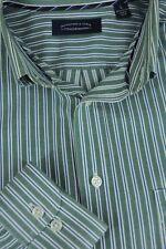 Roundtree & Yorke Hombre Verde Azul Blanco Algodón de Rayas Camisa Informal L