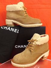 NIB CHANEL G31083 BEIGE BROWN SUEDE SHEARLING LACE UP CC ANKLE BOOTS 38.5