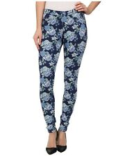 Hue women's Size S Floral Original Blue Denim rose Skimmer Legging Jean Pant New