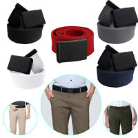 Unisex Mens Canvas Fabric Webbing Waist Belt Army Style Adjustable Black Buckle