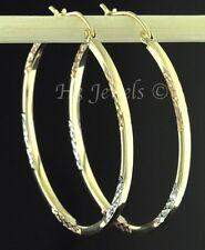 14k solid tri gold diamond cut  hollow hoop earring 1.90 grams 1 3/8 inch #3011