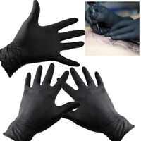 100x Gloves Strong Nitrile Gloves Latex Vinyl Powder Free Grade Black (Box Pack)