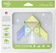6 Piece Tegu Travel Pal Magnetic Wooden Block Set, Spaceship box has some flaws