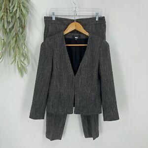 Ann Taylor Pant Suit Womens Petite Size Gray Tweed Devin Fit 4P Blazer 6P Pants