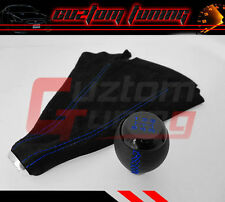 FOR HONDA CIVIC SI COUPE 5 SPEED BLK LEATHER SHIFT KNOB+SUEDE BOOT BLUE STITCH