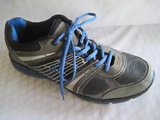 MENS ATHLETECH SNEAKER, ALL MAN MADE MATERIALS, GRAY/BLACK/ BLUE 13 M