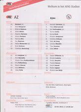 Opstellingen / Line-ups AZ Alkmaar v Ajax Amsterdam 22-01-2012