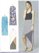 Women's Knit Stretchy Long Maxi Skirt High Low Sewing Pattern UNCUT Size XL XXL