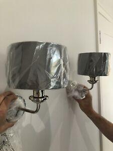 Pair Laura Ashley Sorento Wall Light - Bright Nickle Charcoal Shades Brand New