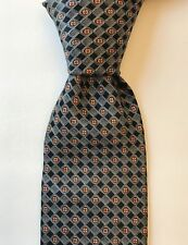 ERMENEGILDO ZEGNA Men's Silk Necktie Luxury ITALY Geometric Gray/Black/Bronze