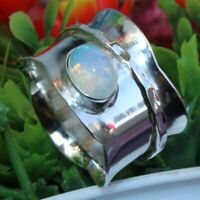 925 Sterling Silver Band & Opal Spinner Meditation Ring Handmade  All Size B-202