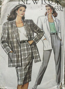 80s New Look Pattern Box Jacket Straight Skirt & Trousers Multi Size 8 10 12 14