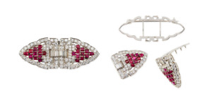 925 Sterling Silver Art Deco 9.60 Carat Cubic Zirconia & Ruby Duette Clip Brooch