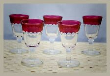 """SET OF (5) CRANBERRY CLEAR GLASS CORDIALS 3 1/2"""" TALL"""