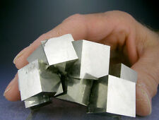 LARGE SHINY 13-CUBE GOLDEN PYRITE CRYSTALS CLUSTER FROM SPAIN + 3-D VIDEO