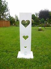 Deko-Holzbrett mit Standfuß, Handarbeit, weiß, Herz Ausschnitt, Holz, Natur