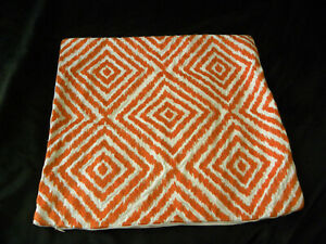 "Pottery Barn Orange White Decorative Pillow Cover 20"" x 20"" Diamond Embroidered"