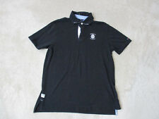 VINTAGE Tommy Hilfiger Polo Shirt Adult Medium Black White Crest Spell Out Mens