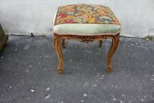 French Louis Style Carved Vanity Bench with Needlepoint Over Fabric
