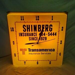 Vtg Dualite Lighted Clock Shinberg Transamerica Insurance Advertisement Works