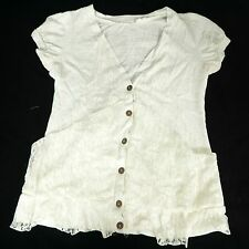 Blue Bird Shirt S Off White Lace Layered Button Front Burnout Womens Lagenlook
