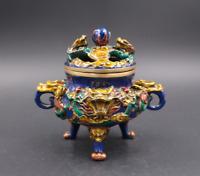 Old Chinese bronze Cloisonne Loong Dragon beast statue Incense Burner censer