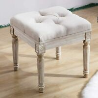 Chairus Square Fabric Tufted Ottoman Bench Stool Rustic wood legs
