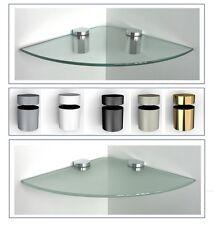 2 Stück Glasregal Ecke Viertelkreis klar satin 2 Größen /Clip BASKET in 5 Farben