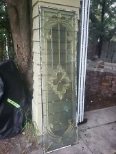 SHIPPING IS ROUGH ESTIMATE. 3-Pane Leaded Stained Etched Window Door Insert.