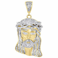.925 Sterling Silver Mens Real Diamond Mini Micro Jesus Face Pendant Charm 1.40""