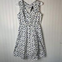 Frock Shop blue white shark ocean print v-neck sleeveless skater dress size S