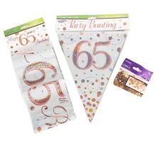 65th Birthday Decoration Kit Banner Bunting Confetti Rose Gold Him Her Men Women
