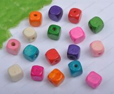 50Pcs 6MM Mixed colors Cube wood loose spacer Beads