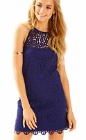 Lilly Pulitzer NWT Pearl Shift True Navy Laser Cut Scuba Dress Size L MSRP $198