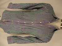 Peter Millar Mens Blue Green Check Long Sleeve Cotton Shirt S