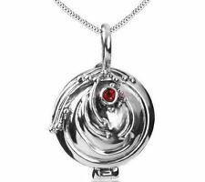 Silver Vampire Diaries Elena Gilbert Vervain Pendant Necklace with Red Crystal
