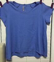 NWOT FLAX Linen Blouse Shirt Size 1G Blue - 100% Linen