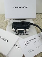 NWT Aut Balenciaga Giant Stud Buckle Navy Blue Silver Leather Bracelet Sz S $270
