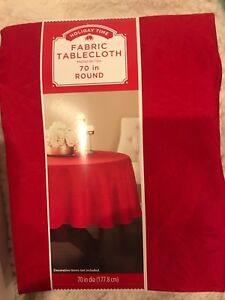 Holiday Time Tablecloth Damask Fabric 70 inches Christmas Round