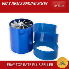 Car Accessories Super charger Power Air Intake Dual Fan Turbine Blue US Parts