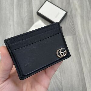 Gucci Leather Card Holder With Money Clip In Black