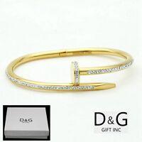 """DG Women's 6.5"""" Stainless Steel Gold,Nail Bangle CZ Bracelet Eternity.BOX"""