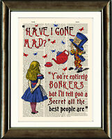 ANTIQUE BOOK PAGE ART PRINT Alice in Wonderland Bonkers Quote Red Wall Art