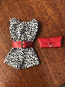 Vintage Barbie Doll Pak Black White Floral Playsuit Wide Red Belt Purse Lot