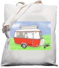 Vintage Pop Top Caravan Design - Natural (Cream) Cotton Shoulder Bag - Red