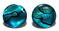 BRIGHT BLUE ABALONE PAUA SHELL STUD or CLIP ON EARRINGS-4 sizes (S090)