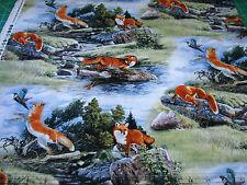 1 Yard Quilt Cotton Fabric- Elizabeth's Studio North American Wildlife Red Fox